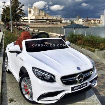 Электромобиль Mercedes-Benz S63 AMG черный (колеса резина, сиденье кожа, пульт, музыка)