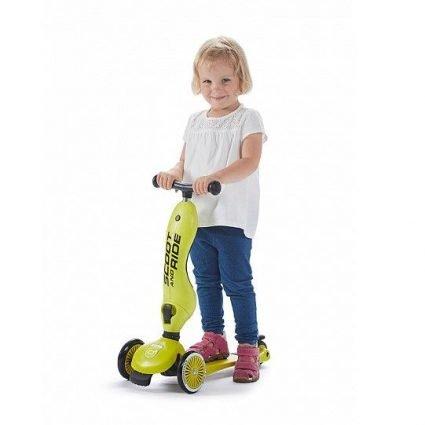 Трехколесный самокат с сиденьем Scoot&Ride HighwayKick ЛАЙМ от 1 до 5 лет (2 в 1)