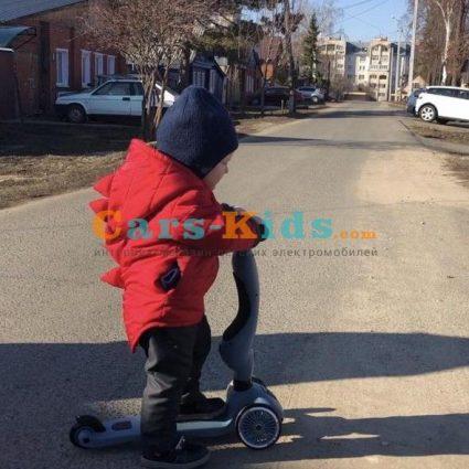 Трехколесный самокат с сиденьем Scoot&Ride HighwayKick НЕЖНАЯ РОЗА от 1 до 5 лет (2 в 1)