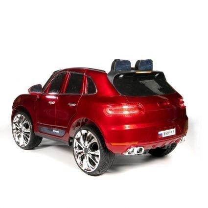 Электромобиль Porsche Macan M999AA красный (резиновые колеса, кресло кожа, пульт, музыка)